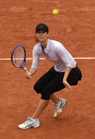 during the **** Singles fourth round match against **** on day ten of the 2016 French Open at Roland Garros on May 31, 2016 in Paris, France.